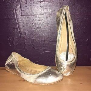 Frye distressed metallic ballet slippers